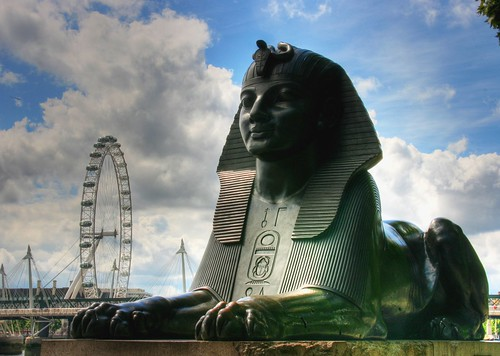 The Sphinx of London, next to Cleopatra's Needle. Image Credit - Manju.