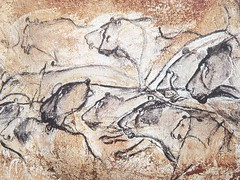 "Lions of the stone age cave of ""Chauvet"""
