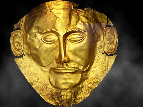 Schliemann's most significant discovery was a gold funeral mask, dubbed Mask of Agamemnon, which he found in 1876. Image credit - axiepics.