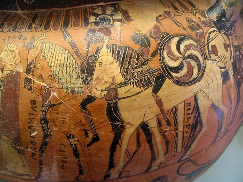 A Late-Corinthian krater depicting the Menelaus and Ulysses' mission to Troy to obtain the return of Helen, the failure of which led to the Trojan War. Image Credit - Dan Diffendale.