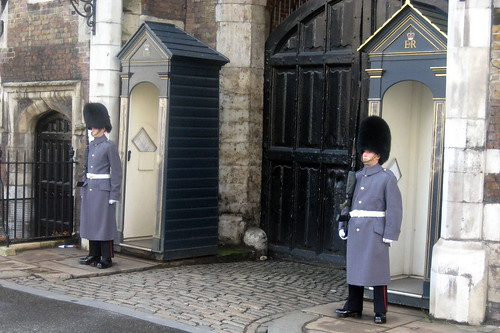 The Guards outside St James' Palace near the Red Lion Pub in London. Image Credit - Wally Gobetz.