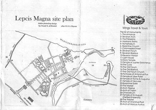 This handy plan shows all the key sites across Leptis Magna. Image credit - Miklos Kiss.