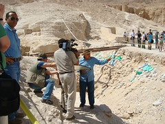 Each digging season in Egypt yeilds new findings and artefacts. The next big discovery may only be a few meters of desert earth away. Image of Zahi Hawass in the Valley of the Kings by FAMSF, on Flickr