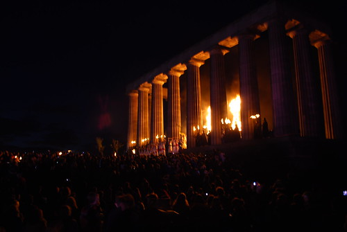 DSC_0330 Beltane Fire Festival 2009 - Calton Hill, Edinburgh -<br /> Flames at the Acropolis
