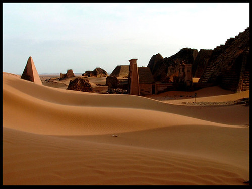 Dunes versus Pyramids. A view of the ancient city of Meroe. Image Credit - Vit Hassan.