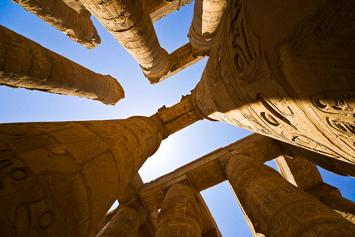 The columns of the Great Hypostyle Hall, Karnak. Image credit - ktildsley.