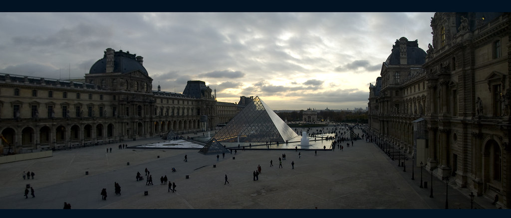 Louvre, Paris view on Glass Pyramid from Egyptian Gallery