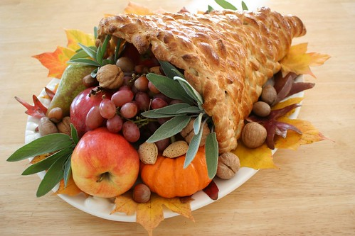 Bread cornucopia for Thanksgiving