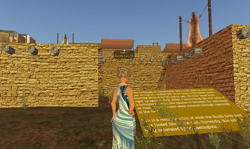 Approaching the introduction panel to virtual Catalhoyuk in Second Life