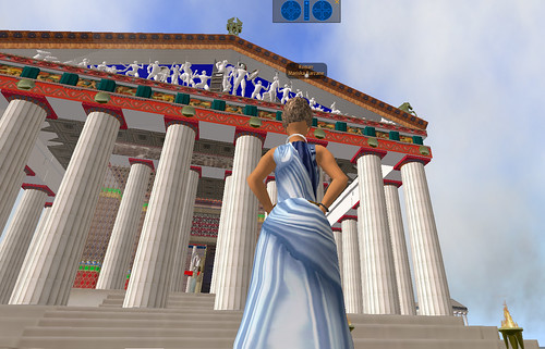 Approaching a virtual replica of the Parthenon in Second Life