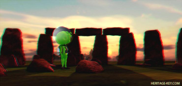 3D Aliens land at Stonehenge Virtual