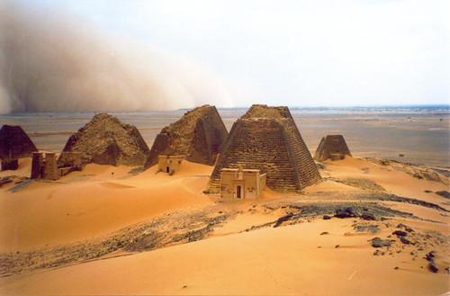 Sandstorm over pyramids in Bajrawia. Image Credit - Vit Hassan