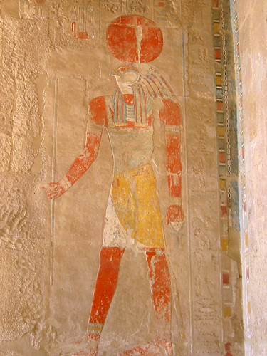 The Egyptian sun god, here seen in the guise of Ra-Horus, is represented by an ancient symbol that Dan Brown has resurrected in his lastest thriller, The Lost Symbol. Image by Michael Reeve