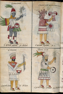 The Aztec gods depicted in Historia General de las Cosas de Nueva Espaa (General History of the Things of New Spain), 1575 - 1577. Courtesy of Biblioteca Medicea Laurenziana, Florence, Italy, FI 100 Med.Palat. 218.