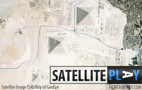 The Giza Plateau as seen in this satellite photograph. But you can see even closer! Click this image to explore this great satellite image. - Image courtesy of GeoEye.