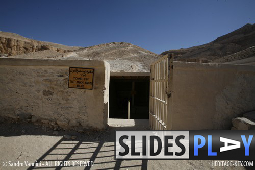 The entrance to the Tomb of King Tutankhamun, in the Valley of the Kings. Click the image to skip to the slideshow. Image Copyright - Sandro Vannini.