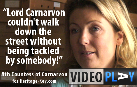 The Earl and Countess of Carnarvon talk about the death of their ancestor Lord Carnarvon. Click the image to skip to the video.