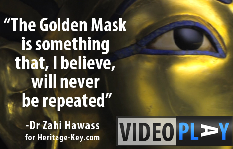The Golden Mask of King Tutankhamun is one of the highlights of the treasures of KV62. Click the image to skip to the video.