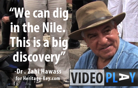 Dr Zahi Hawass at the Nile by Aswan, talking about discoveries made in the river. Click to skip to the video.
