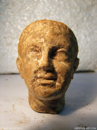 Head of a statue from the Ptolemaic era, one of more than 600 statues discovered at the excavation site in Alexandria.