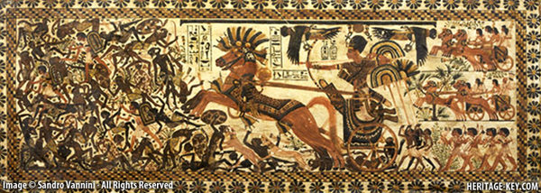 King Tutankhamun enjoyed riding a horse-drawn chariot, which ultimately caused his death. Perhaps comparable to the death of Princess Di in a fast car? Image Credit - Sandro Vannini.
