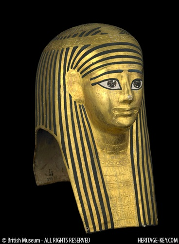 Gilded cartonnage mummy mask from the British Museum. Image copyright - The Trustees of the British Museum.