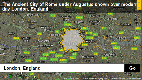 The Ancient City of Rome during the reign of Emperor Augustus overlayed on Modern Day London using BBC Dimensions.
