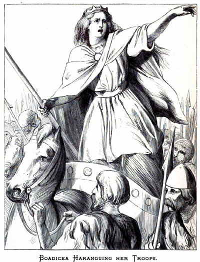 Boudica rallies her troops as they prepare to battle.