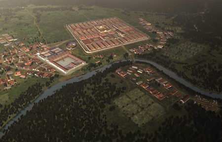Reconstruction of Caerleon - or Itca, by its Roman name - showing the newly discovered monumental suburb - Image copyright 7reasons