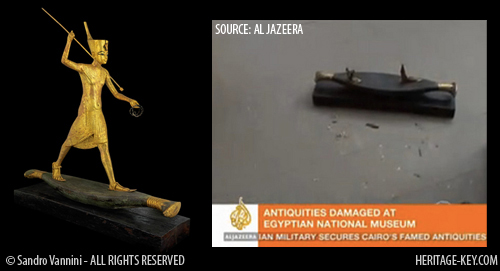 Another damamged King Tut artefact was the Tutankhamun Hunting statue. Image (Left) Copyright of Sandro Vannini, and (Right) Al Jazeera.