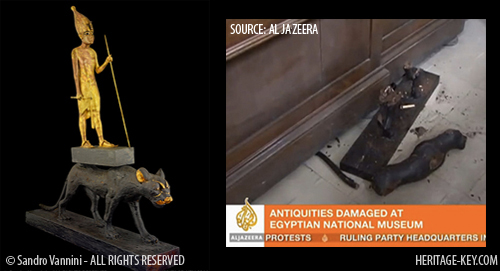 Amongst the artefacts damaged at the Cairo Museum was the statue of King Tutankhamun on a panther. Image (Left) Copyright of Sandro Vannini, and (Right) Al Jazeera.