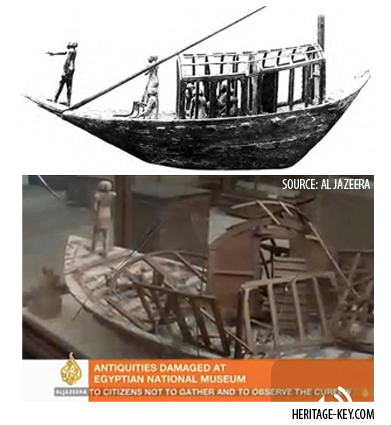Also damaged was a Model Boat from the Tomb of Meseti at Asyut. Image Copyright (Bottom) Al Jazeera.