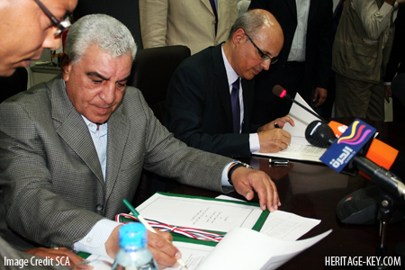 Dr Zahi Hawass sat down with the Swiss and agreed a deal for repatriation of Egyptian artefacts. Image Credit - SCA.