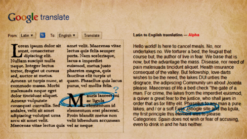 Google Translate Latin to English Translation - Mauris laoreet translates as 'Google Site' - Easter Egg?