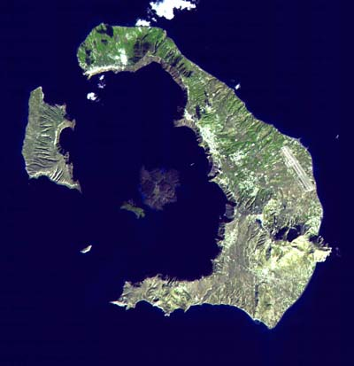Photo courtesy NASA. A satellite image of Santorini.