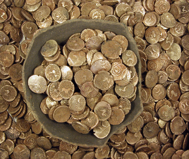 The Iron Age gold coins discovered at Wickham Market, and their container. - Image courtesy of Suffolk Archaeological Unit