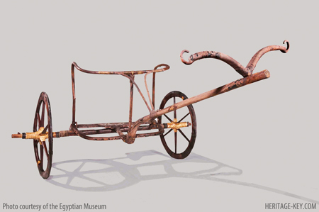 The Chariot - found in the Antechambre - is unique, in that it does not look like the other chariots found, and does not appear in wall paintings. - Image courtesy of the Egyptian Museum