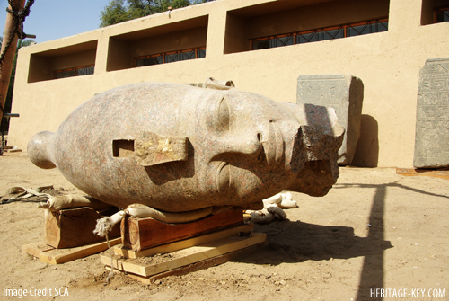 Head of gigantic Amenhotep III statue discovered at Luxor