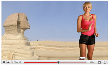 Still from Marina Orlova's video 'To Hot For Words - The Great (Sexy) Sphinx.