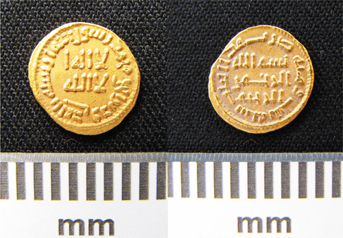 Both sides of the coin are decorated with kufic inscription.