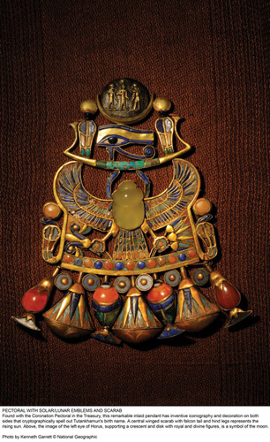 Pectoral with solar/lunar emblems and scarab.  Kenneth Garrett/National Geographic