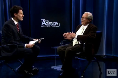 'The Agenda' host Steve Paikin interviews President of the New Acropolis Museum Dimitrios Pandermalis about the Eglin Marbles and repatration of artefacts. - Still from 'The Agenda'