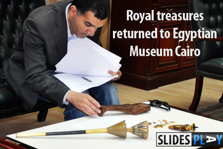 Four objects missing from the Egyptian Museum since the January Revolution have been returned, announced Dr. Zahi Hawass, Minister of State for Antiquities. Click for a slideshow showing the details of the state the Royal artefacts were returned in. - Image courtesy the Supreme Council of Antiquities.