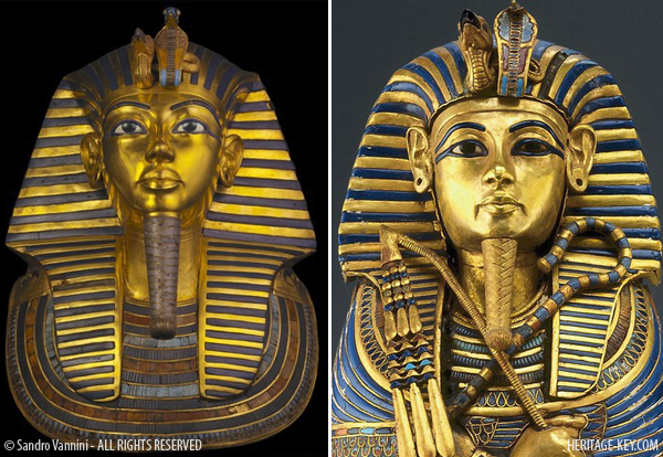 The image being used on all the posters for the current exhibitions is from a smaller coffinette holding King Tut's liver (Left), and not the Golden Mask (Right). Image Copyright - Sandro Vannini.